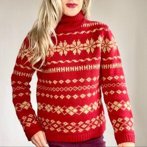 J. Crew Vintage Red & Tan Snowflake Wool Sweater M